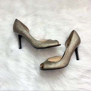 Marc Fisher Glitter Open Toe Heels